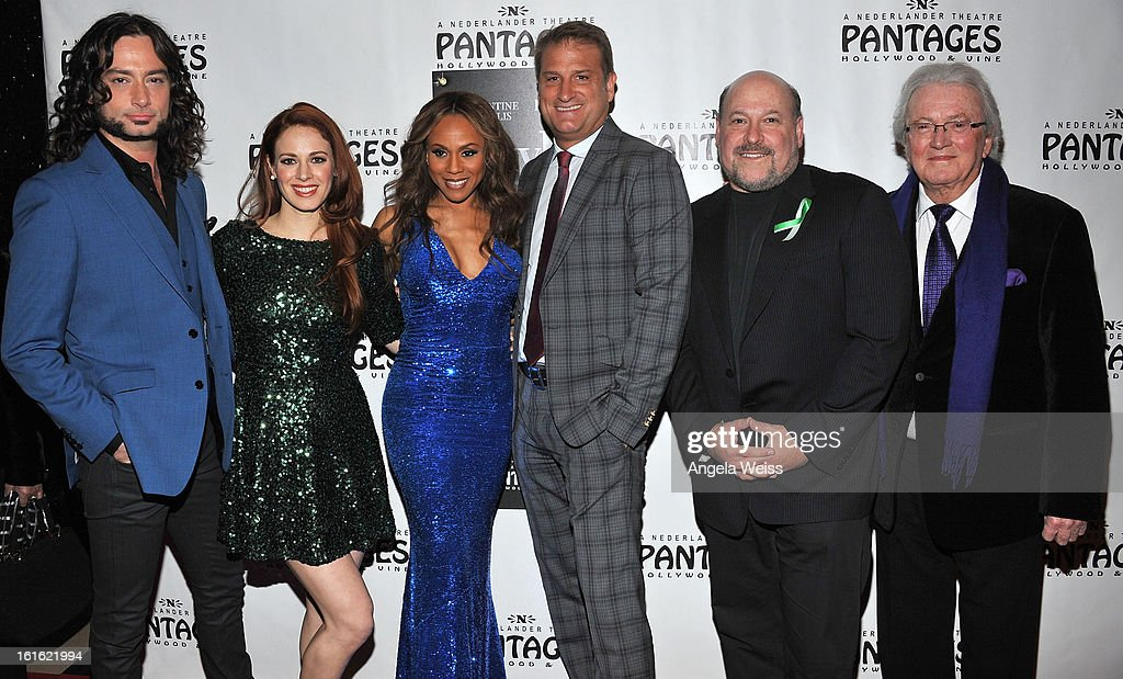 Actors/cast members Constantine Maroulis, Teal Wicks and Deborah Cox, director Jeff Calhoun, composer Frank Wildhorn and lyricist Leslie Bricusse arrive at the opening night of 'Jekyll & Hyde' held at the Pantages Theatre on February 12, 2013 in Hollywood, California.