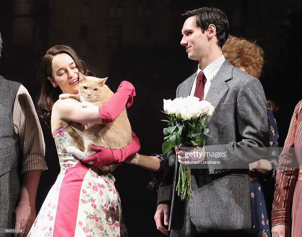 Actors/cast members Emilia Clarke and Cory Michael Smith and Vito Vincent the cat take part in the 'Breakfast At Tiffany's' Broadway Opening Night at Cort Theatre on March 20, 2013 in New York City.