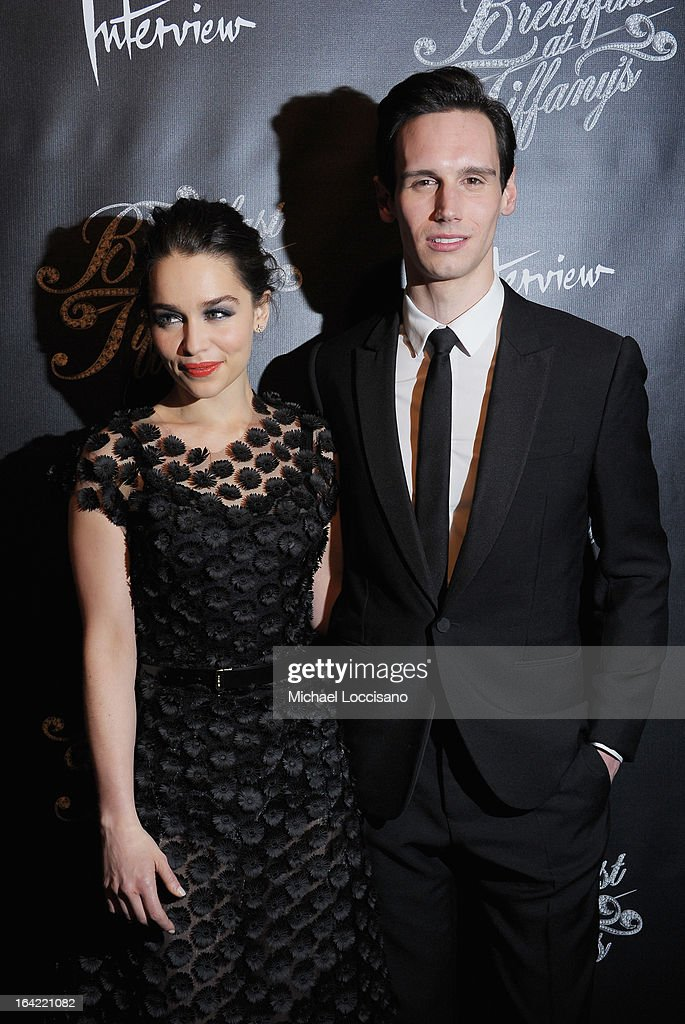 Actors/cast members <a gi-track='captionPersonalityLinkClicked' href=/galleries/search?phrase=Emilia+Clarke&family=editorial&specificpeople=7426687 ng-click='$event.stopPropagation()'>Emilia Clarke</a> and Cory Michael Smith attend the 'Breakfast At Tiffany's' Broadway Opening Night after party at The Edison Ballroom on March 20, 2013 in New York City.