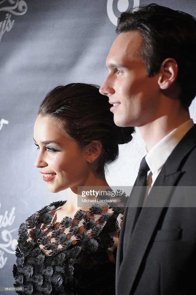 Actors/cast members Emilia Clarke and Cory Michael Smith attend the 'Breakfast At Tiffany's' Broadway Opening Night after party at The Edison Ballroom on March 20, 2013 in New York City.