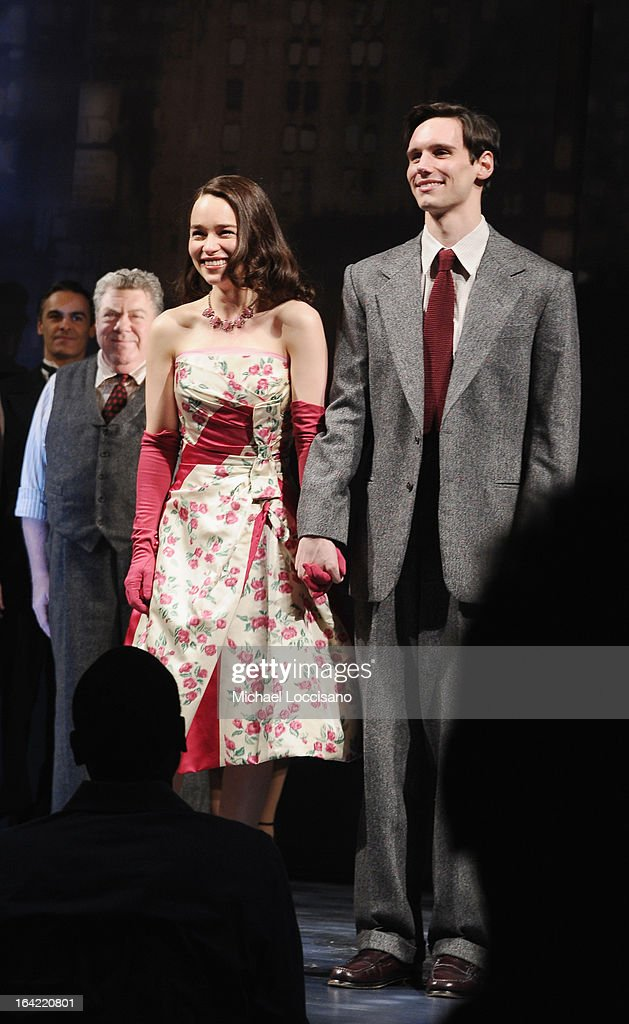 actors/castmembers George Wendt, Emilia Clarke and Cory Michael Smith take part in the 'Breakfast At Tiffany's' Broadway Opening Night at Cort Theatre on March 20, 2013 in New York City.
