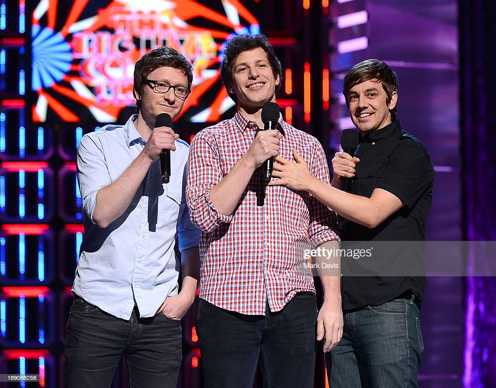 Actors/comedians Akiva Schaffer, <a gi-track='captionPersonalityLinkClicked' href=/galleries/search?phrase=Andy+Samberg&family=editorial&specificpeople=595651 ng-click='$event.stopPropagation()'>Andy Samberg</a> and <a gi-track='captionPersonalityLinkClicked' href=/galleries/search?phrase=Jorma+Taccone&family=editorial&specificpeople=4432803 ng-click='$event.stopPropagation()'>Jorma Taccone</a> of The Lonely Island perform during 'The Big Live Comedy Show' presented by YouTube Comedy Week held at Culver Studios on May 19, 2013 in Culver City, California.