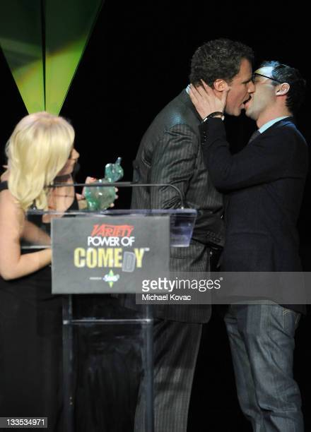 Actors/comedians Amy Poehler Will Ferrell and Nick Kroll onstage at Variety's Power of Comedy Presented By The Sims 3 Benefiting The Noreen Fraser...