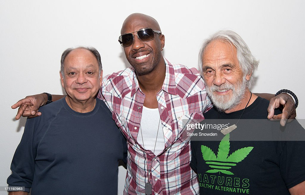 Actors/Comedians Cheech & Chong pose backstage with fellow actor/comedian <a gi-track='captionPersonalityLinkClicked' href=/galleries/search?phrase=J.B.+Smoove&family=editorial&specificpeople=3035162 ng-click='$event.stopPropagation()'>J.B. Smoove</a> (center) before their performance at Route 66 Casino's Legends Theater on June 22, 2013 in Albuquerque, New Mexico. <a gi-track='captionPersonalityLinkClicked' href=/galleries/search?phrase=J.B.+Smoove&family=editorial&specificpeople=3035162 ng-click='$event.stopPropagation()'>J.B. Smoove</a> is in Albuquerque working on his latest movie, Search Party' and stopped by the see the show.