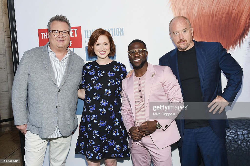 Actors/comedians Eric Stonestreet, Ellie Kemper, Kevin Hart, andLouis C.K. pose for a picture at 'The Secret Life Of Pets' New York Premiere at David H. Koch Theater at Lincoln Center on June 25, 2016 in New York City.