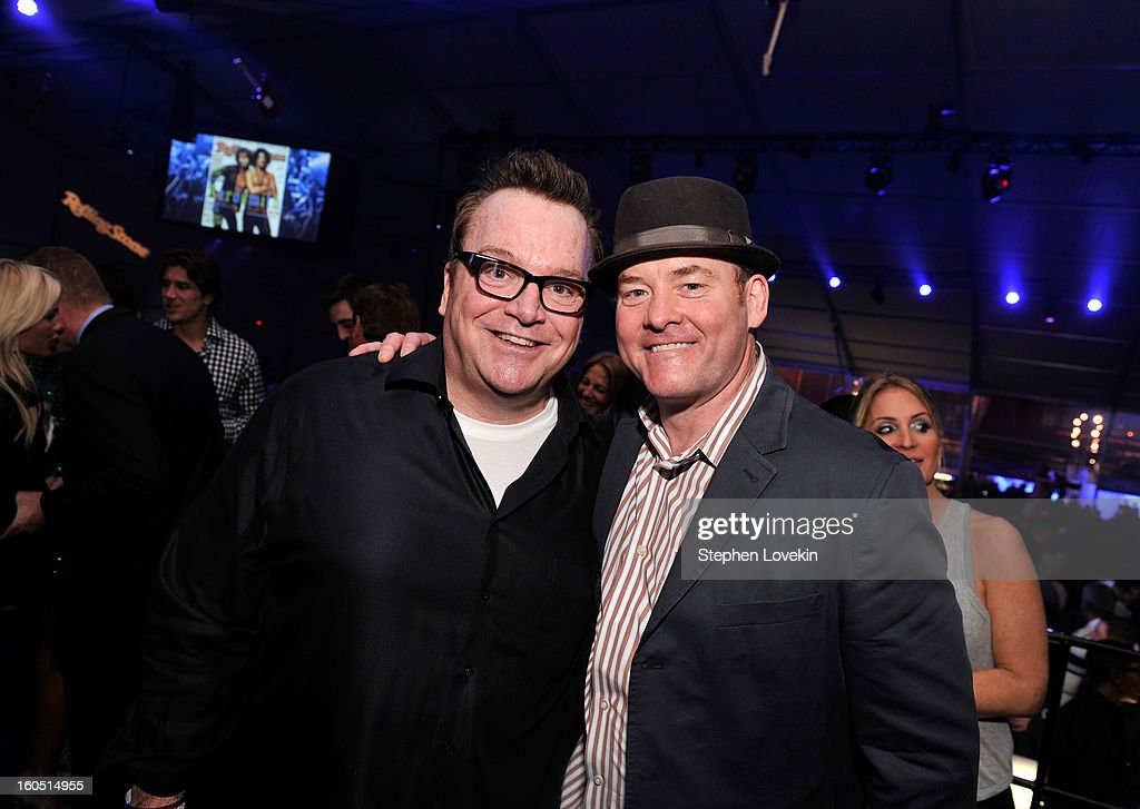 Actors/comedians <a gi-track='captionPersonalityLinkClicked' href=/galleries/search?phrase=Tom+Arnold&family=editorial&specificpeople=202506 ng-click='$event.stopPropagation()'>Tom Arnold</a> (L) and <a gi-track='captionPersonalityLinkClicked' href=/galleries/search?phrase=David+Koechner&family=editorial&specificpeople=804105 ng-click='$event.stopPropagation()'>David Koechner</a> attend the Rolling Stone LIVE party held at the Bud Light Hotel on February 1, 2013 in New Orleans, Louisiana.