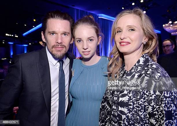 Actorscreenwriter Ethan Hawke daughter Maya ThurmanHawke and actorscreenwriter Julie Delpy attend the 86th Academy Awards nominee luncheon at The...