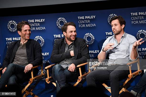 Actors/Executive Producers Glenn Howerton Charlie Day and Rob McElhenney speak onstage at An Evening With 'It's Always Sunny In Philadelphia' at The...