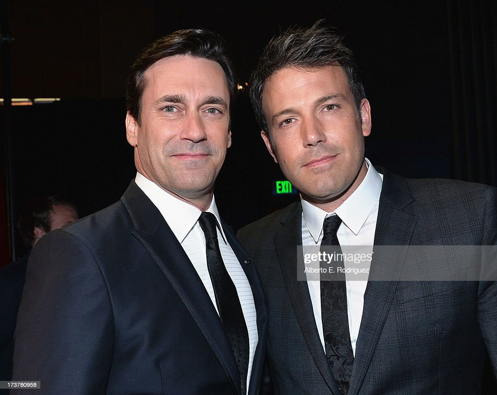 Actor/show host <a gi-track='captionPersonalityLinkClicked' href=/galleries/search?phrase=Jon+Hamm&family=editorial&specificpeople=3027367 ng-click='$event.stopPropagation()'>Jon Hamm</a> (L) and actor/director <a gi-track='captionPersonalityLinkClicked' href=/galleries/search?phrase=Ben+Affleck&family=editorial&specificpeople=201856 ng-click='$event.stopPropagation()'>Ben Affleck</a> pose backstage at The 2013 ESPY Awards at Nokia Theatre L.A. Live on July 17, 2013 in Los Angeles, California.