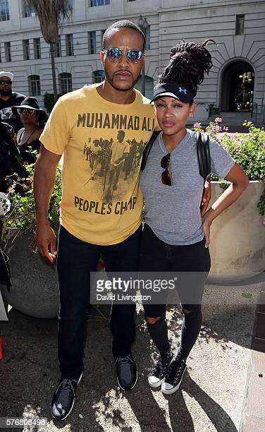 Actors/husband wife DeVon Franklin and Meagan Good attend as members of Black Hollywood join the #OccupyCityHall movement at Los Angeles City Hall on...