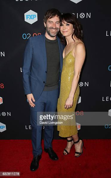 Actors/husband wife Mark Duplass and Katie Aselton attend the premiere of FX's 'Legion' at Pacific Design Center on January 26 2017 in West Hollywood...