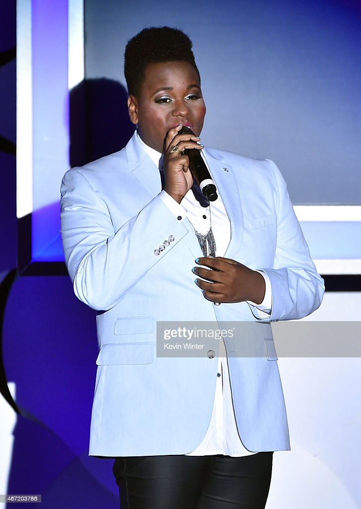 Actorsinger Alex Newell performs onstage during the 26th Annual GLAAD Media Awards at The Beverly Hilton Hotel on March 21 2015 in Beverly Hills...