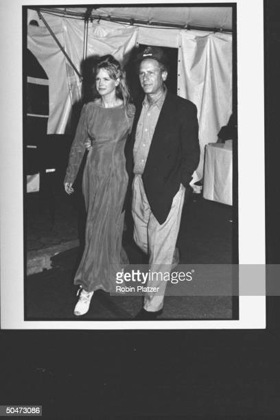 Actor/singer Art Garfunkel w actress wife Kim Cermak at premiere party for the movie A League of Their Own at Tavern on the Green restaurant