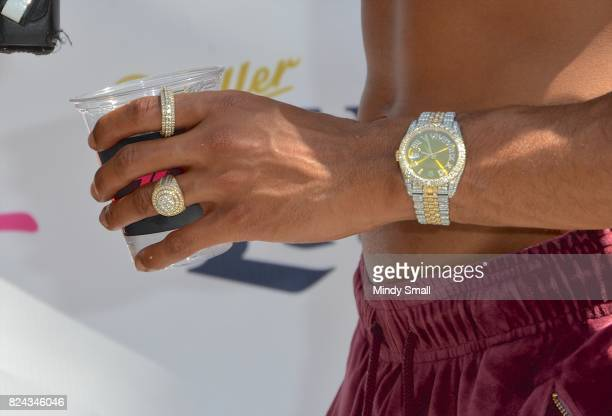 Actor/singer Bryshere 'Yazz' Gray watch and ring detail arrives at the Flamingo Go pool at Flamingo Las Vegas on July 29 2017 in Las Vegas Nevada