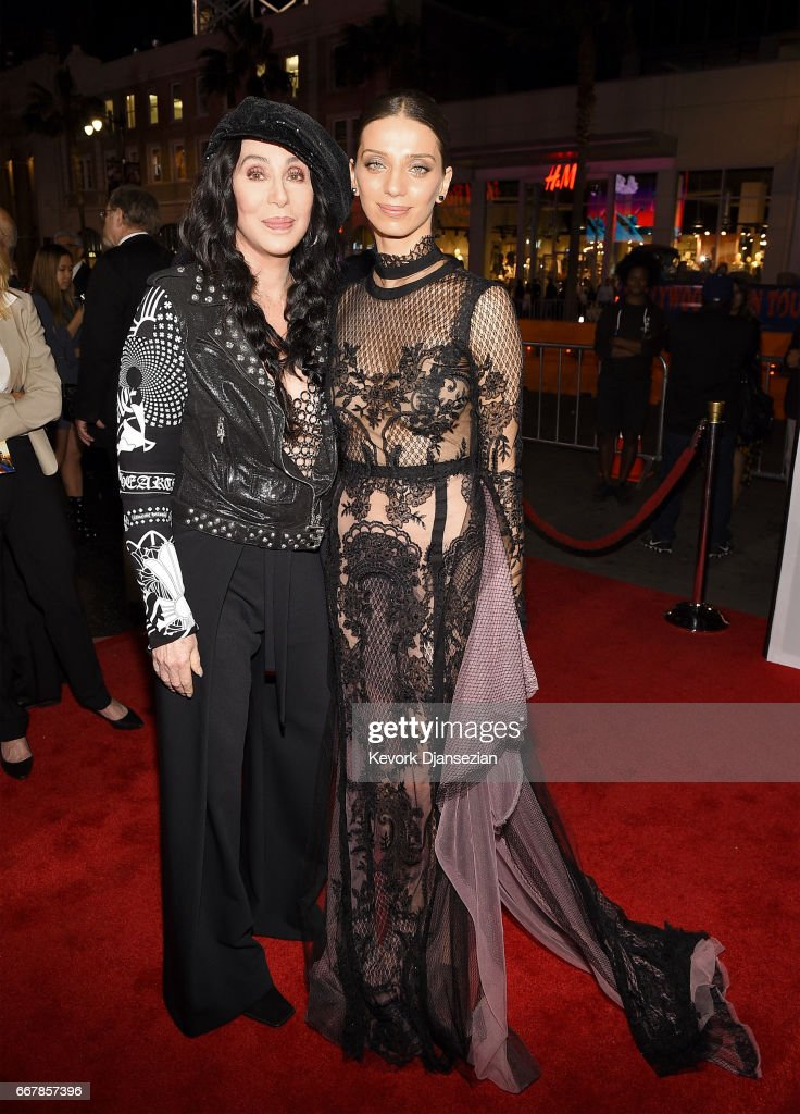 Actor/singer Cher (L) and actor Angela Sarafyan attend the premiere of Open Road Films' 'The Promise' at TCL Chinese Theatre on April 12, 2017 in Hollywood, California.