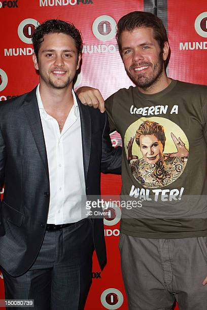 Actor/singer Christopher Von Uckermann and Perez Hilton arrive at MundoFox launch party at Club Nokia LA Live on August 9 2012 in Los Angeles...