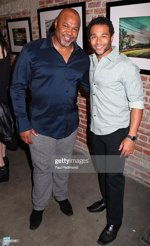 Actor/singer <a gi-track='captionPersonalityLinkClicked' href=/galleries/search?phrase=Corbin+Bleu&family=editorial&specificpeople=651888 ng-click='$event.stopPropagation()'>Corbin Bleu</a> (R) with his father David Reivers attending the 'Jennie Garth: Awake' opening night artist reception at Project Gallery on April 5, 2014 in Hollywood, California.