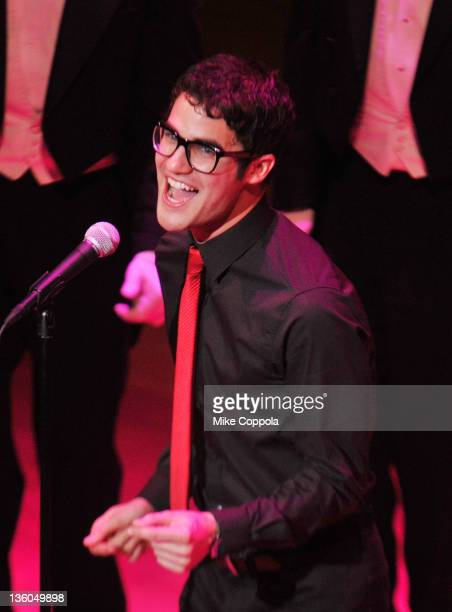 Actor/singer Darren Criss performs during the Sing Out Raise Hope benefit concert at Alice Tully Hall Lincoln Center on December 17 2011 in New York...