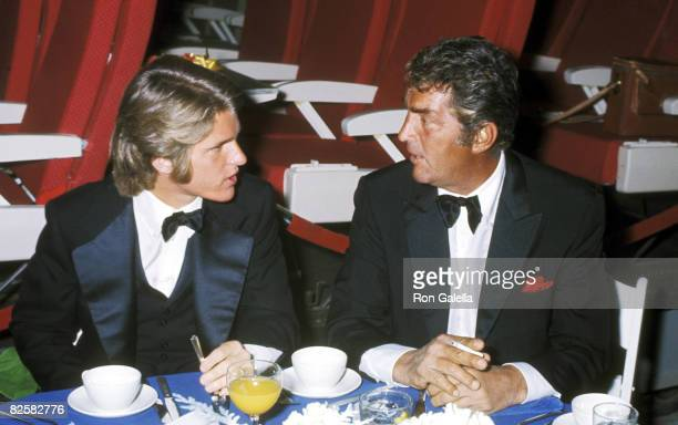 Actor/Singer Dean Martin and son Dean Paul Martin attend the 'Airport' Hollywood Premiere Party on March 19 1970 at a Hollywood Sound Stage in...