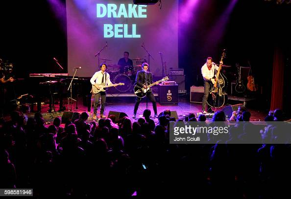 Actor/singer Drake Bell performs onstsage during the album release party for Laura Michelle's 'Novel With No End' at El Rey Theatre on September 1...