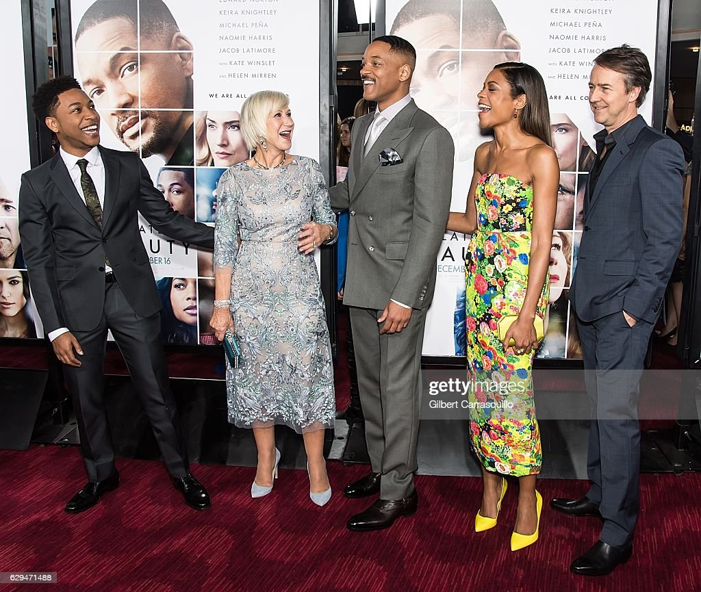 Actor/singer Jacob Latimore, actors Dame Helen Mirren, Will Smith, Naomie Harris and Edward Norton attend 'Collateral Beauty' World Premiere at Frederick P. Rose Hall, Jazz at Lincoln Center on December 12, 2016 in New York City.