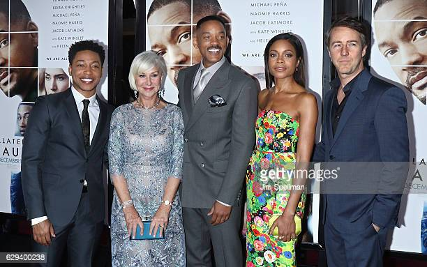 Actor/singer Jacob Latimore actors Helen Mirren Will Smith Naomie Harris and Edward Norton attend the 'Collateral Beauty' world premiere at Frederick...