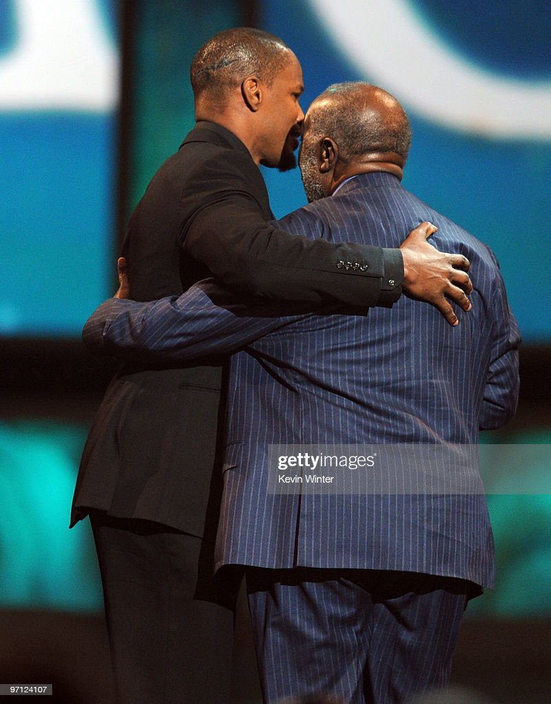 Actor/singer Jamie Foxx presents the Hall of Fame award to Clarence Avant onstage during the 41st NAACP Image awards held at The Shrine Auditorium on February 26, 2010 in Los Angeles, California.