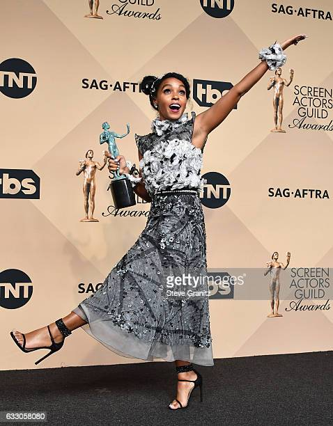 Actor/singer Janelle Monae winner of the Outstanding Cast in a Motion Picture award for 'Hidden Figures' poses in the press room during the 23rd...