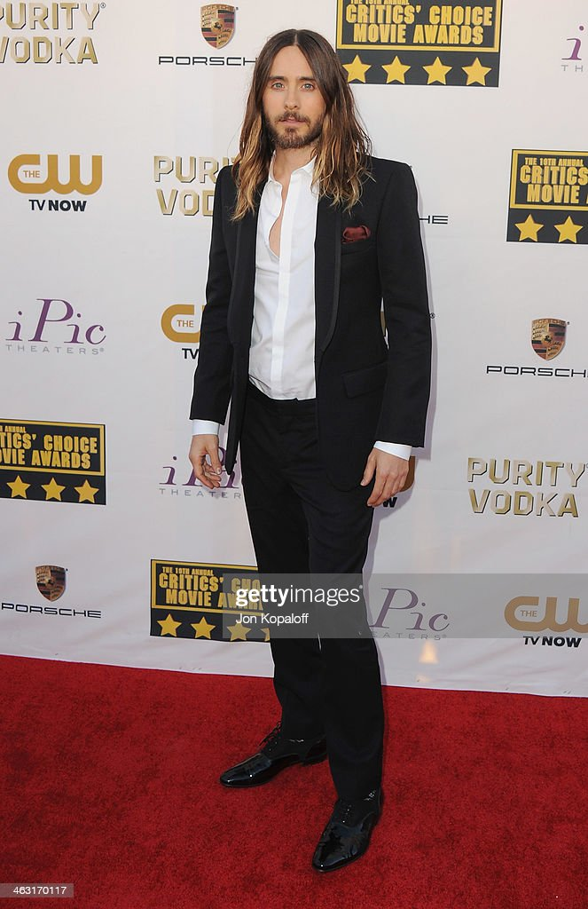 Actor/Singer Jared Leto arrives at the 19th Annual Critics' Choice Movie Awards at Barker Hangar on January 16, 2014 in Santa Monica, California.