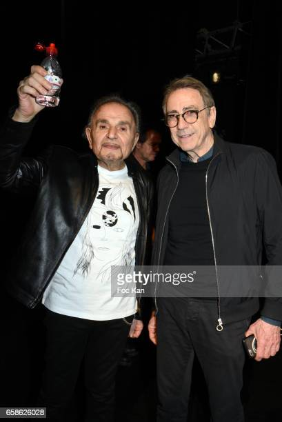 Actor/singer Jean Pierre Kalfon and singer Alain Chamfort attend Jean Pierre Kalfon ad PIB band Concert at Theatre Dejazet on March 27 2017 in Paris...