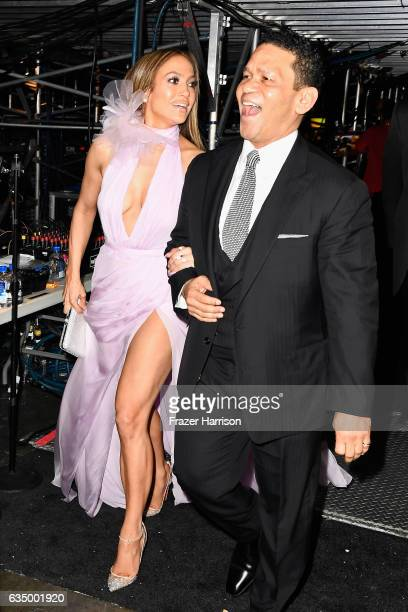 Actor/singer Jennifer Lopez and producer Benny Medina attend The 59th GRAMMY Awards at STAPLES Center on February 12 2017 in Los Angeles California