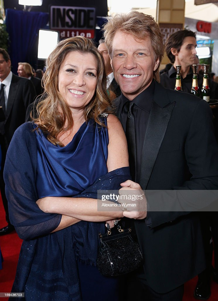 Actor-singer Jon Bon Jovi ( R) and wife Dorothea Hurley arrive at the 70th Annual Golden Globe Awards held at The Beverly Hilton Hotel on January 13, 2013 in Beverly Hills, California.