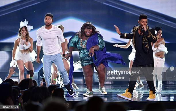 Actor/singer Jussie Smollett actress Gabourey Sidibe and actor/singer Bryshere 'Yazz' Gray perform onstage during the Teen Choice Awards 2015 at the...