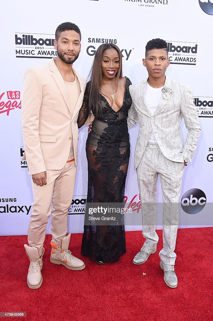Actorsinger Jussie Smollett singer Estelle and actor Bryshere Y Gray attend the 2015 Billboard Music Awards at MGM Grand Garden Arena on May 17 2015...