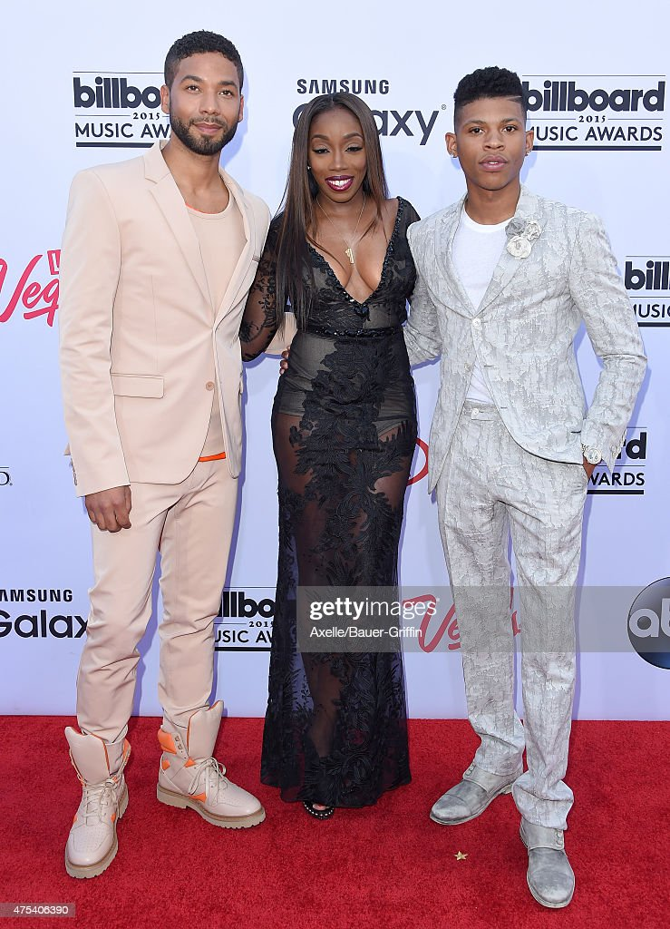Actor/singer Jussie Smollett singer Estelle and actor Bryshere Y Gray arrive at the 2015 Billboard Music Awards at MGM Garden Arena on May 17 2015 in...