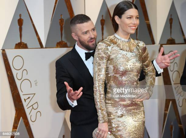 Actor/singer Justin Timberlake and actress Jessica Biel arrive at the 89th Annual Academy Awards at Hollywood Highland Center on February 26 2017 in...