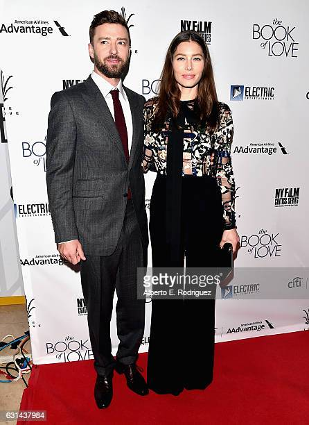 Actor/singer Justin Timberlake and actress Jessica Biel attend the Premiere of Electric Entertainment's 'The Book Of Love' at The Grove on January 10...