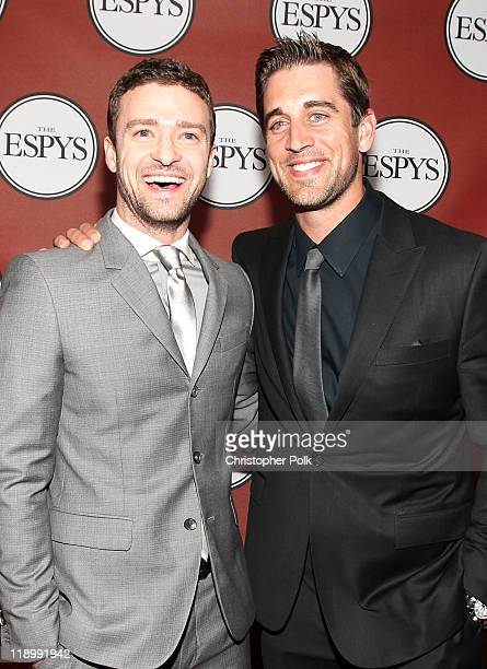 Actor/singer Justin Timberlake and NFL player Aaron Rodgers attend The 2011 ESPY Awards at Nokia Theatre LA Live on July 13 2011 in Los Angeles...