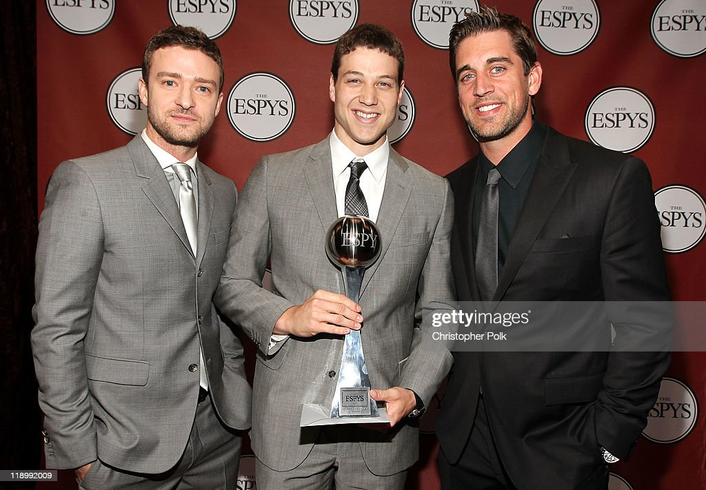 Actor/singer <a gi-track='captionPersonalityLinkClicked' href=/galleries/search?phrase=Justin+Timberlake&family=editorial&specificpeople=157482 ng-click='$event.stopPropagation()'>Justin Timberlake</a>, ESPY Best Male College Athlete Award winner NBA player <a gi-track='captionPersonalityLinkClicked' href=/galleries/search?phrase=Jimmer+Fredette&family=editorial&specificpeople=5020564 ng-click='$event.stopPropagation()'>Jimmer Fredette</a> and NFL quarterback <a gi-track='captionPersonalityLinkClicked' href=/galleries/search?phrase=Aaron+Rodgers+-+American+Football+Quarterback&family=editorial&specificpeople=215257 ng-click='$event.stopPropagation()'>Aaron Rodgers</a> attend The 2011 ESPY Awards at Nokia Theatre L.A. Live on July 13, 2011 in Los Angeles, California.