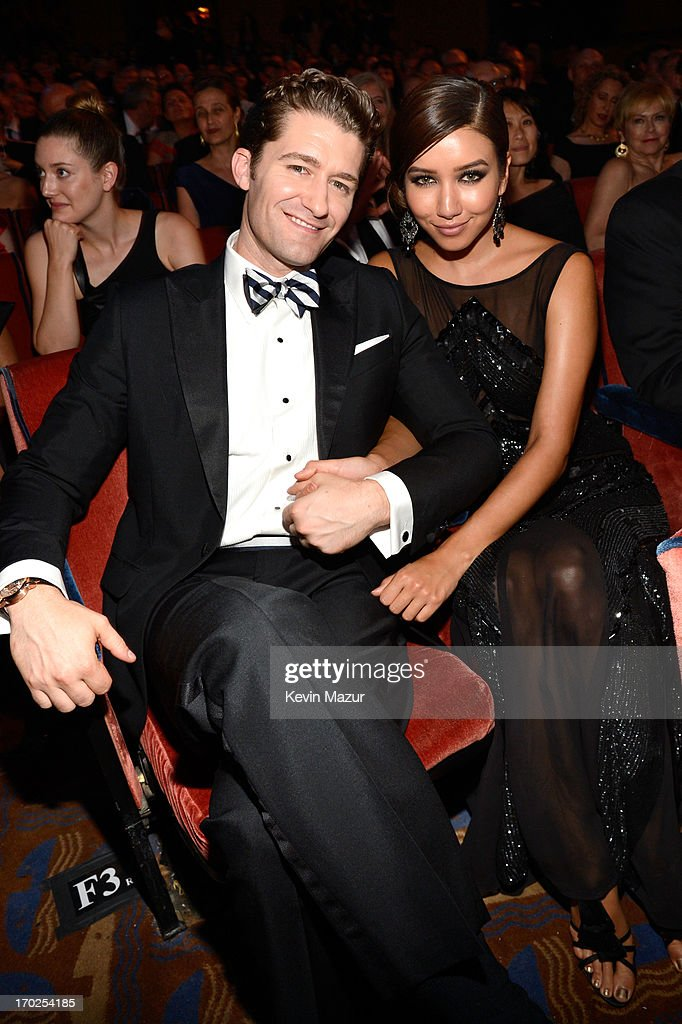 Actor/Singer <a gi-track='captionPersonalityLinkClicked' href=/galleries/search?phrase=Matthew+Morrison&family=editorial&specificpeople=171674 ng-click='$event.stopPropagation()'>Matthew Morrison</a> and Renee Puente attend The 67th Annual Tony Awards backstage at Radio City Music Hall on June 9, 2013 in New York City.