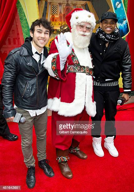 Actor/singer Max Schneider Santa Claus and actor/singer Mack Wilds attend the 2013 Macy's Center City Holiday Windows Unveiling at Macy's Center City...