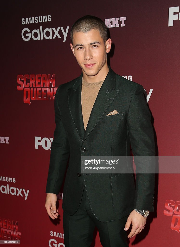 Actor/singer Nick Jonas attends the premiere of FOX TV's 'Scream Queens' at The Wilshire Ebell Theatre on September 21, 2015 in Los Angeles, California.