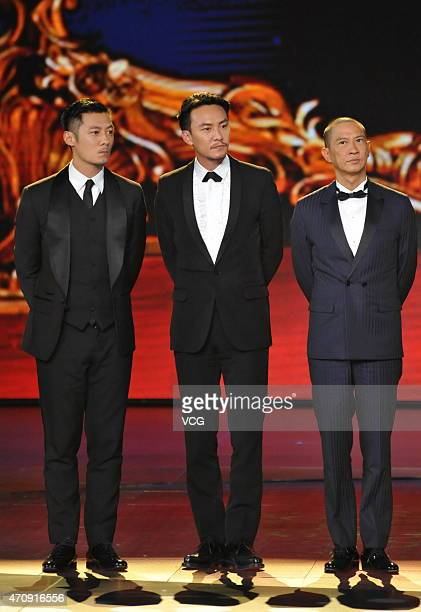Actor/singer Shawn Yue actor Chang Chen and actor Nick Cheung attends the closing ceremony of the 5th Beijing International Film Festival at Beijing...