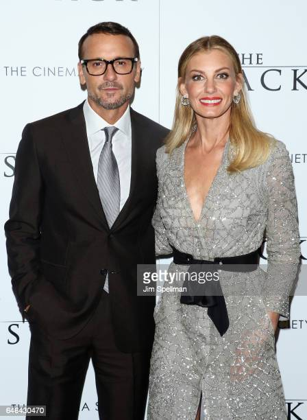 Actor/singer Tim McGraw and singer/songwriter Faith Hill attends the world premiere of 'The Shack' hosted by Lionsgate at Museum of Modern Art on...