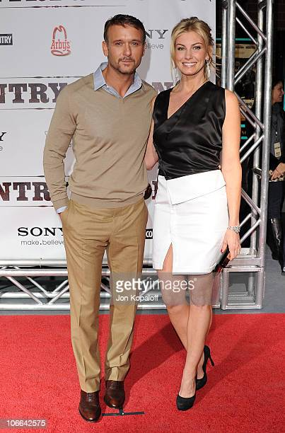 Actor/Singer Tim McGraw and wife singer Faith Hill arrive at the Nashville Premiere 'Country Strong' at Green Hills Cinema on November 8 2010 in...