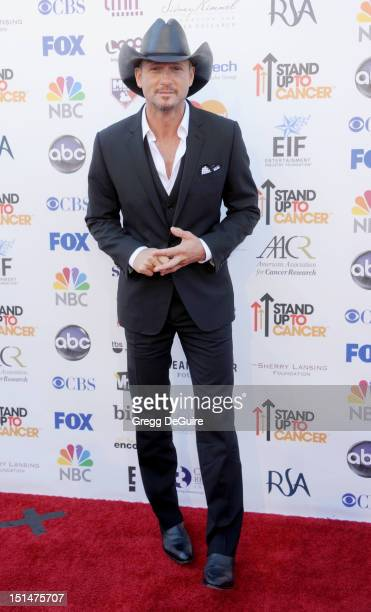 Actor/singer Tim McGraw arrives at Stand Up To Cancer at The Shrine Auditorium on September 7 2012 in Los Angeles California