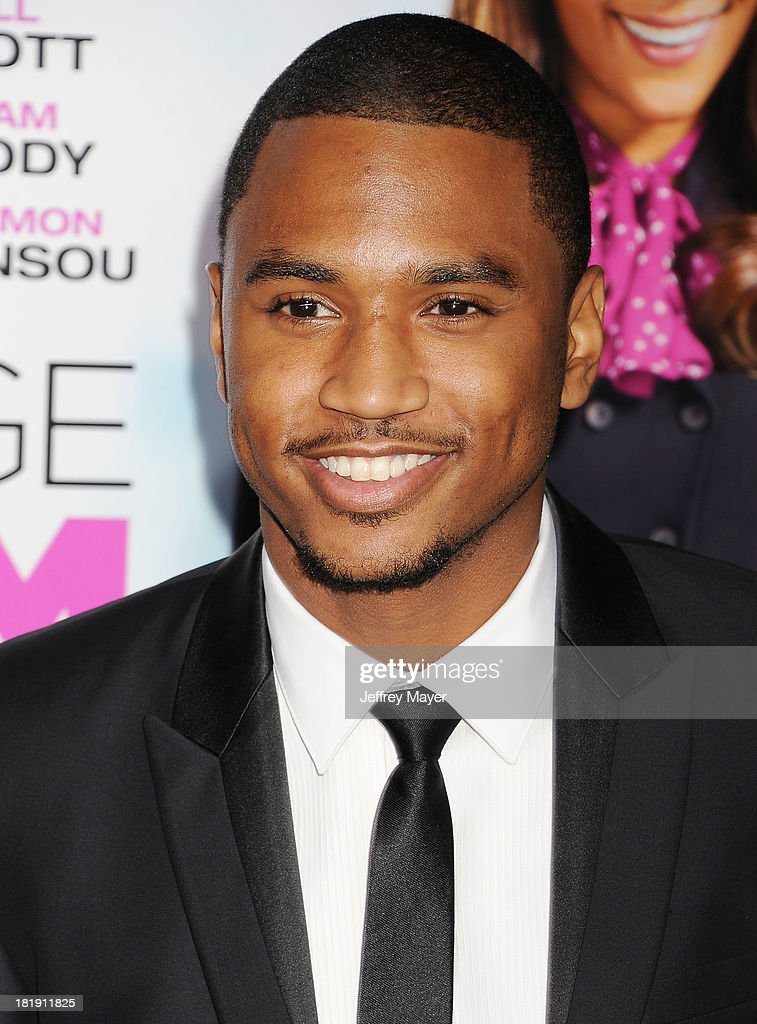 Actor/singer <a gi-track='captionPersonalityLinkClicked' href=/galleries/search?phrase=Trey+Songz&family=editorial&specificpeople=674835 ng-click='$event.stopPropagation()'>Trey Songz</a> arrives at the Los Angeles premiere of 'Baggage Claim' at Regal Cinemas L.A. Live on September 25, 2013 in Los Angeles, California.