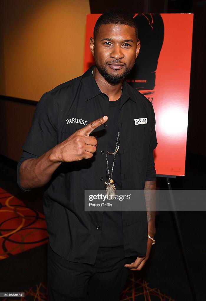 Actor/singer Usher Raymond attends 'Hands Of Stone' Atlanta screening at AMC Phipps Plaza on August 17 2016 in Atlanta Georgia