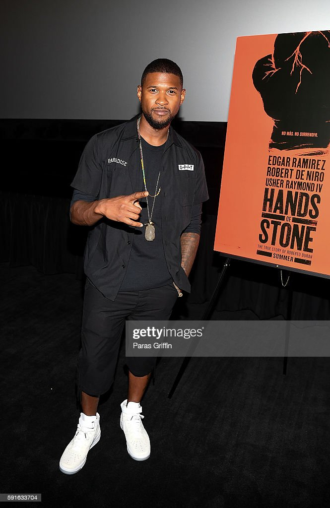 Actor/singer Usher Raymond attends 'Hands Of Stone' Atlanta screening at AMC Phipps Plaza on August 17 2016 in Atlanta Georgia
