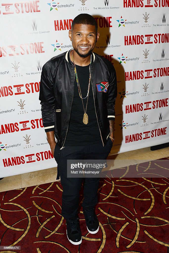 Actor/singer Usher Raymond attends The Weinstein Company's HANDS OF STONE special screening hosted at The Grove in Los Angeles on August 15 2016 in...